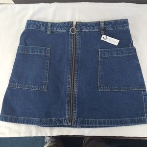 NWT, Topshop Zip Denim Skirt